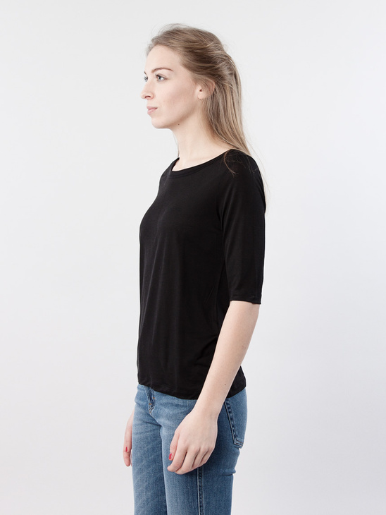 Tencel Midsleeve Top Black