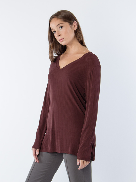 Deep V Jersey Blouse Fig
