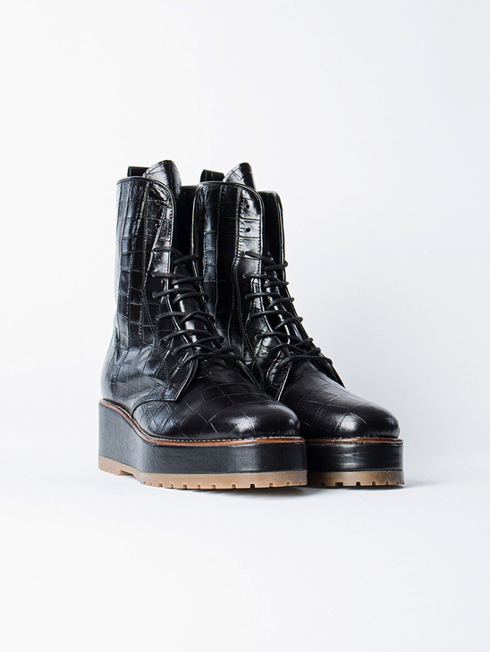Rugged Boot Croco Black