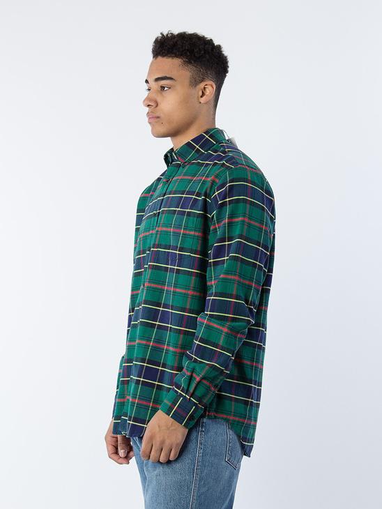 Button Shirt Green Check