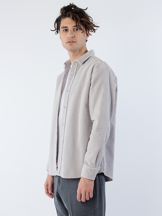 Blake Cord Shirt Boxy Fit Grey