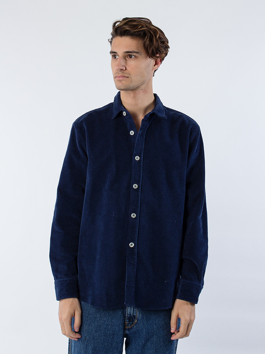 APLACE Blake Cord Shirt Boxy Fit Navy - mfpen