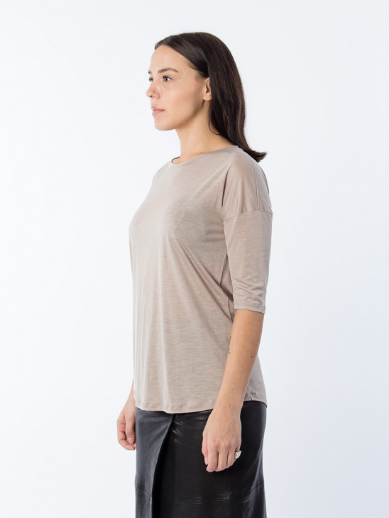 Elbow Sleeve Swing Top Fawn