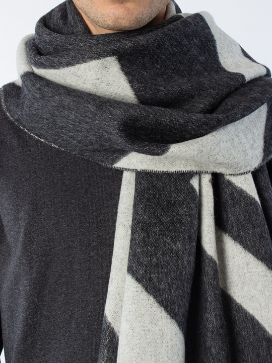 M. Patterned Wool Scarf