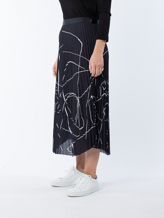 Printed Plisse Skirt