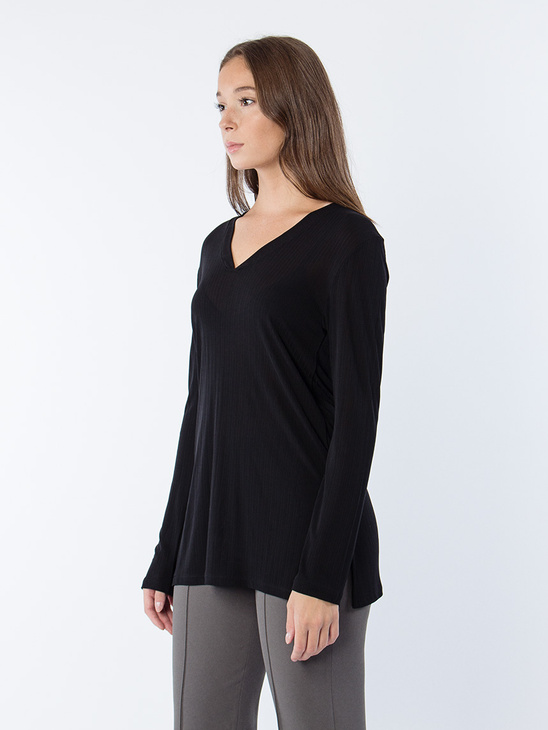 Deep V Jersey Blouse Black