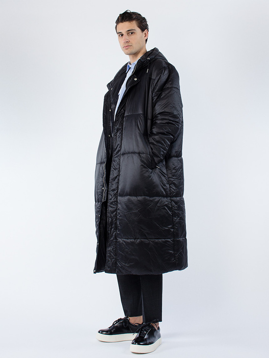Puffy Hood Coat Black