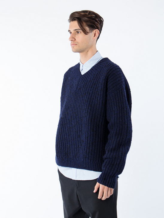 Loom Sweater Dk Blue Mel