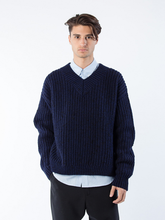 APLACE Loom Sweater Dk Blue Mel - Hope