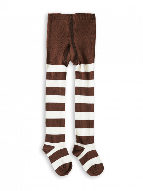 1 Pack Stripe Tights Brown