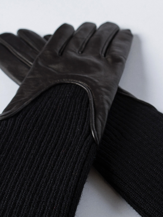 Wool Rib Glove Black