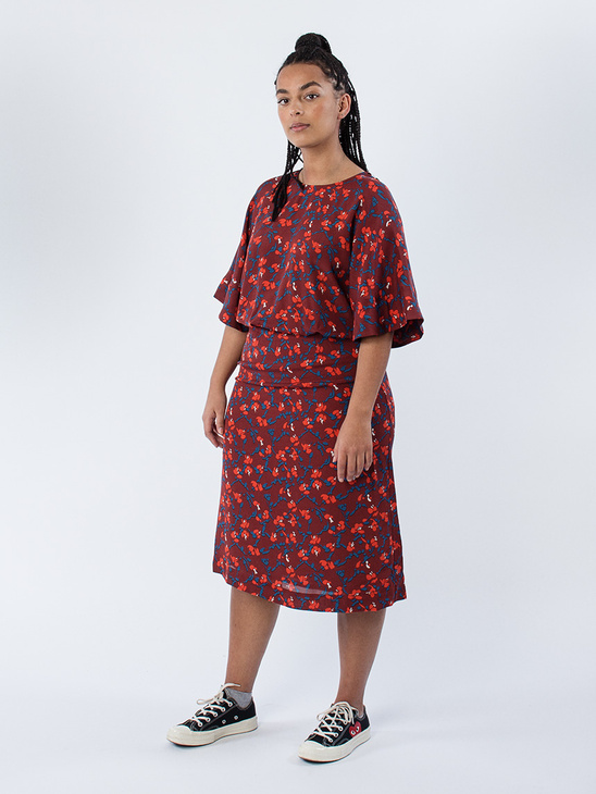 Ami Ruusuruutu Dress Brick/Red